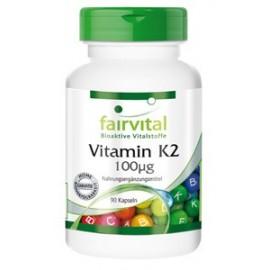 Vitamin K2 100µg hoch Bioverfügbar 90 Kapseln- Menaquinon MK-7  -Fairvital